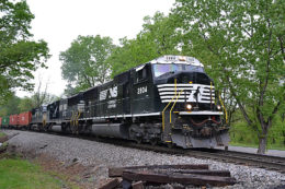 Norfolk Southern SD75 #2804 leads NS 203 near Linden on the B-line - May 5, 2016