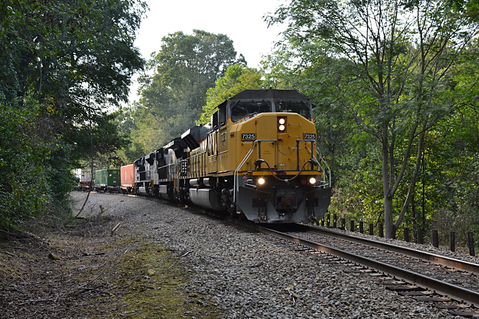 NS Train 203 headed east down Linden Hill with SD90MAC leader #7325 on 9/24/2016.