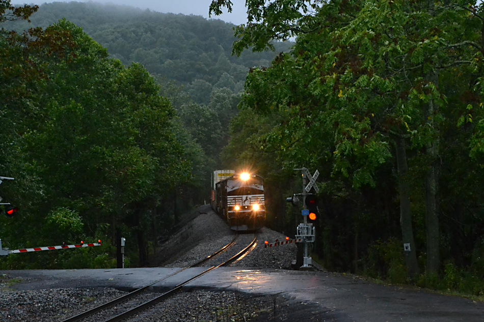NS Train 203 at the Fiery Run Road crossing in Fauquier County, Virginia on 9/29/2016
