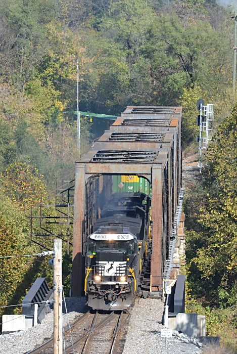 NS 211 led by  NS #8880  crosses the South Fork of the Shenandoah River