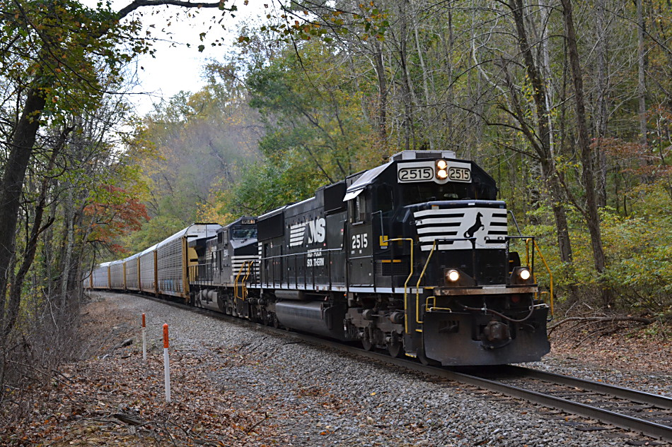 NS 290 led by SD70 #2515 climbs Linden Hill on a drizzly fall day