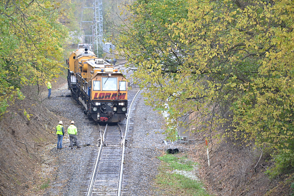 Loram Rail Grinder Leaving the Siding at Linden