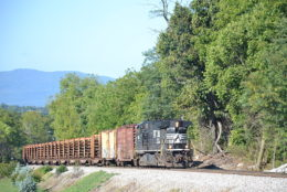 NS D9-44CW #9736 running long hood forward on a rail train in Front Royal, Va on 10/3/2016