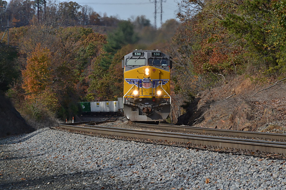 Union Pacific ES44AC #5310 leads NS Train 211 near Front Royal, Va on 11/8/2016