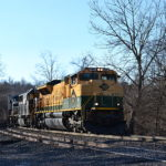 NS SD70ACe #1067 leads train 228 east at Linden, Va on 1/28/2017.