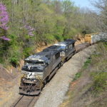 NS train 12R is led by SD70M-2 #2757 at Linden, Virginia on 4/14/2017.