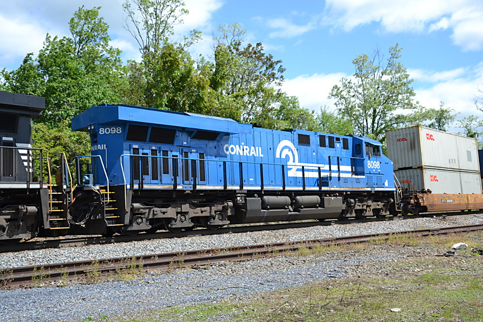 NS ES-44AC #8098 (the Conrail Heritage Unit) trails on train 227 as it crests Linden Hill on 5/3/2017.