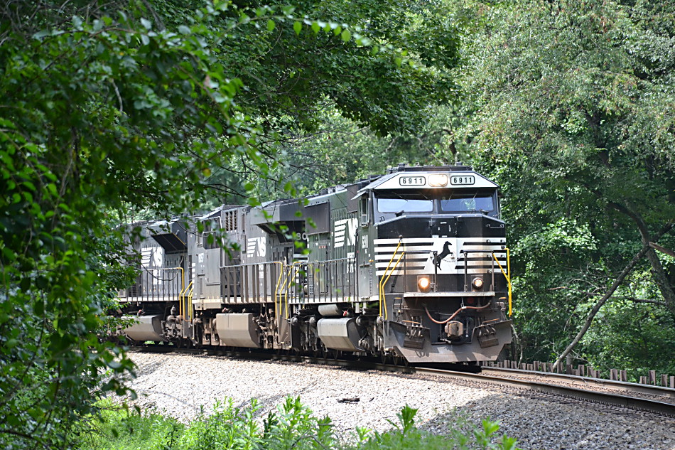 NS train 211 dashes down Linden Hill on the NS B-line in Virginia on 8/8/2017.