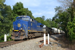 NS train 214 is led by NS ES44AC #8103 (N&W heritage unit) as it heads west through Linden, Va on 8/31/2017.