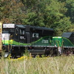 NS RPU6D Slug #892, and SD33ECO #6210 are in the consist of NS train 12R in Cedarville, Va on 9/23/2017.