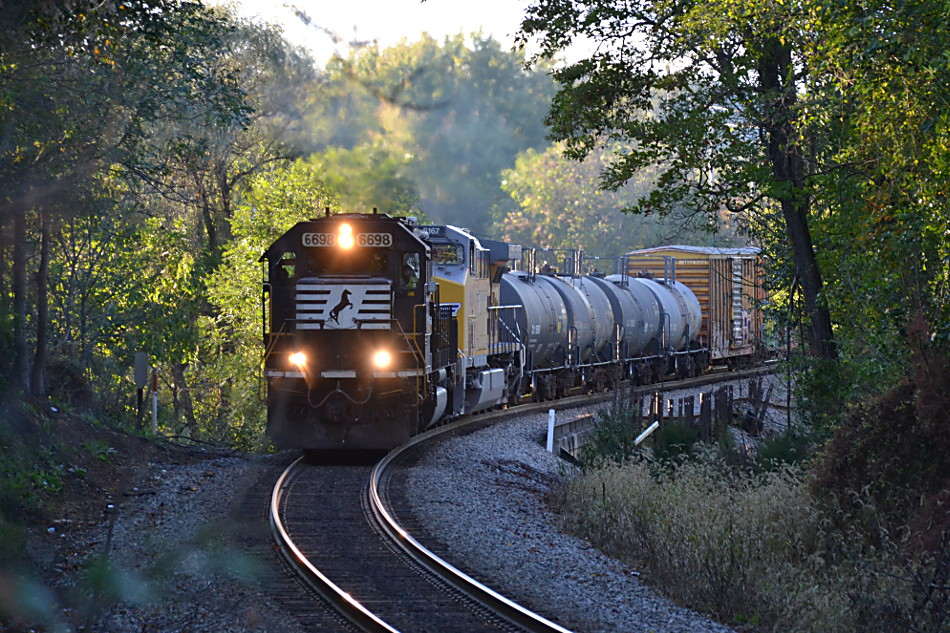 NS train 35Q is led by NS SD60 #6698 east near Linden, Va on 10/16/2017.