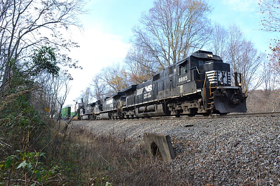 NS D9-40C #8885 leads train 211 east near Linden, Virginia on 11/15/2017.