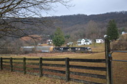 NS SD70M #2638 and NS ET44AC #3620 lead train 290 west over Linden Hill in Virginia on 1/28/2018.