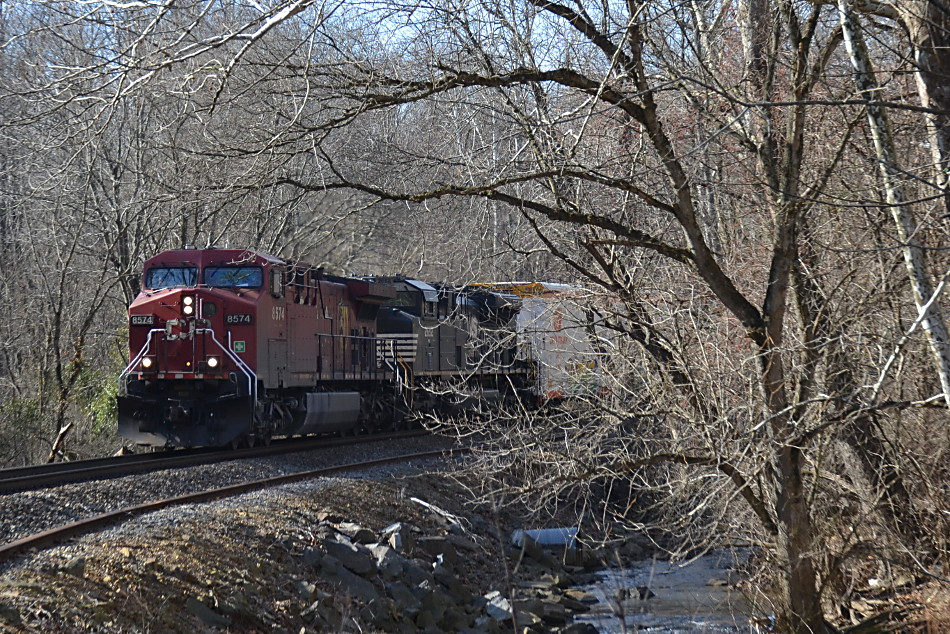 CP AC4400CW #8574 leads NS train 35Q east out of Markham, Virginia on 1/26/2018.