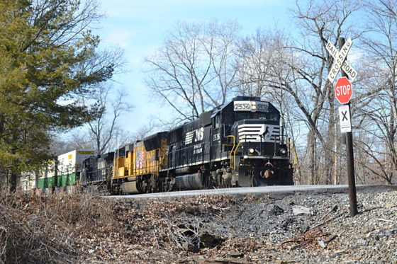 NS train 211 led by NS SD70 #2536 passes east through Linden, Virginia on 2/8/2018.