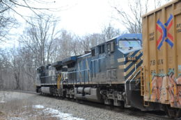 NS train 36Q with a CEFX AC4400CW #1031 trailing on 2/1/2018 in Linden Hill in Virginia.