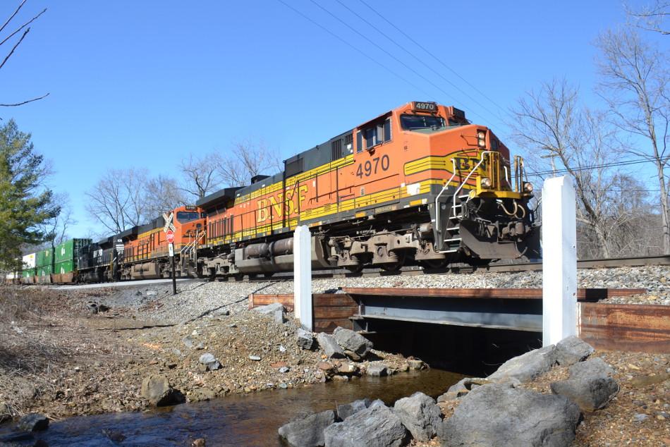 BNSF C44-9W #4970 leads NS train 211 east through Linden, Virginia on 2/27/2018.