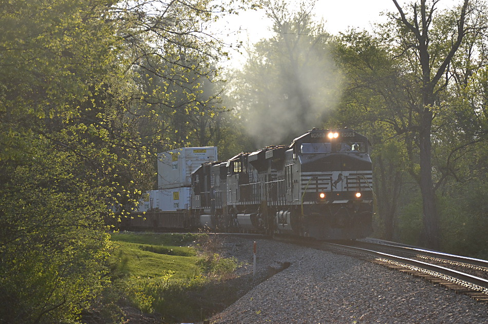 NS train 203 led by D9-44CW #9658 east through Linden on 5/7/2018
