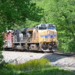NS 35Q led by UP #7628 east through Linden, Virginia on 5/11/2017.