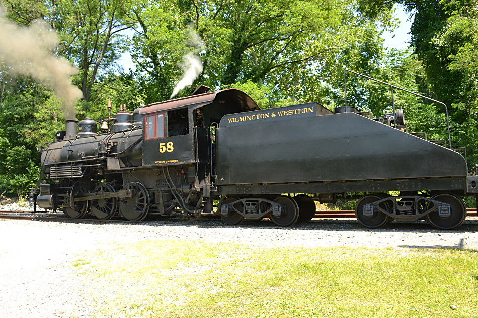 Wilmington and Western #58 Preparing to Depart Greenbank station on 6/17/2018.