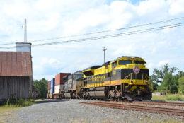 NS train 228 is led by NS SD70ACe #1069 east through Marshall, Virginia on 8/25/2018.