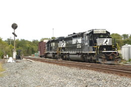 NS SD40-2s #3921 and #3410 rest at Front Royal, VA on 9/22/2018.