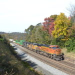 NS Train 211 heads east near Front Royal, Va on 10/31/2018.