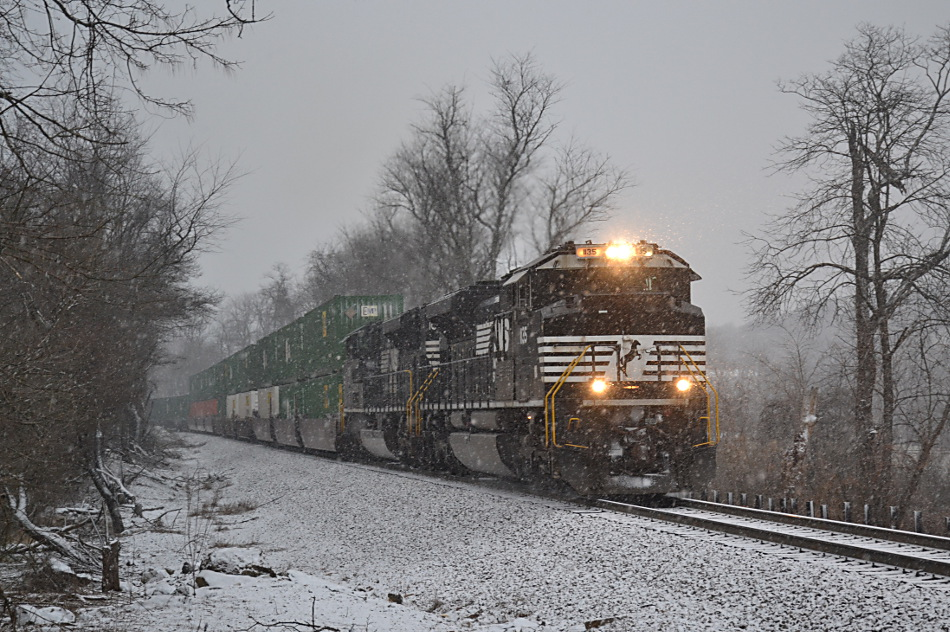 A pair of ACes power NS 203 up the hill in Linden, Virginia in the snow on 1/12/2019.