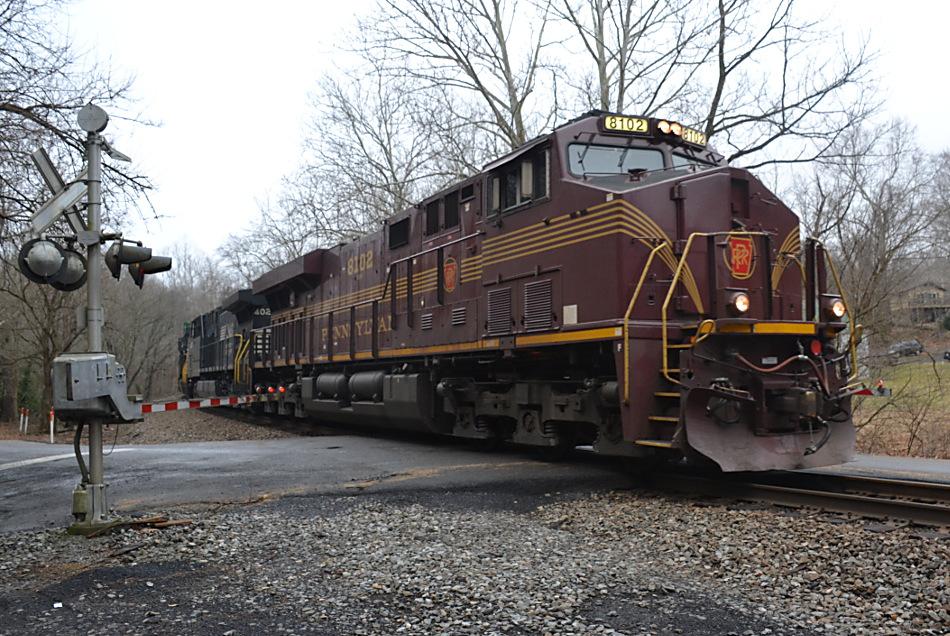 NS SD70ACe #8102 (PRR Heritage unit) leads NS train 211 east near Markham, VA on 2/7/2019