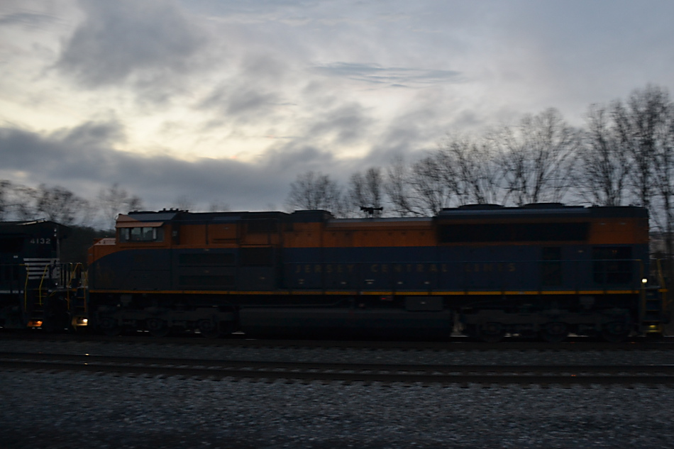 NS SD70ACe #1071 (Central Railroad of New Jersey heritage unit) pushes train 740 through Cedarville, VA on 2/7/2019.