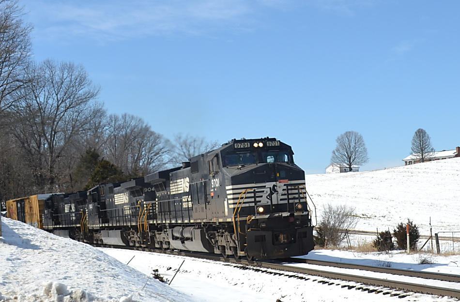 NS train 13R heads east on the B-line in Front Royal, Virginia on 2/21/2019.