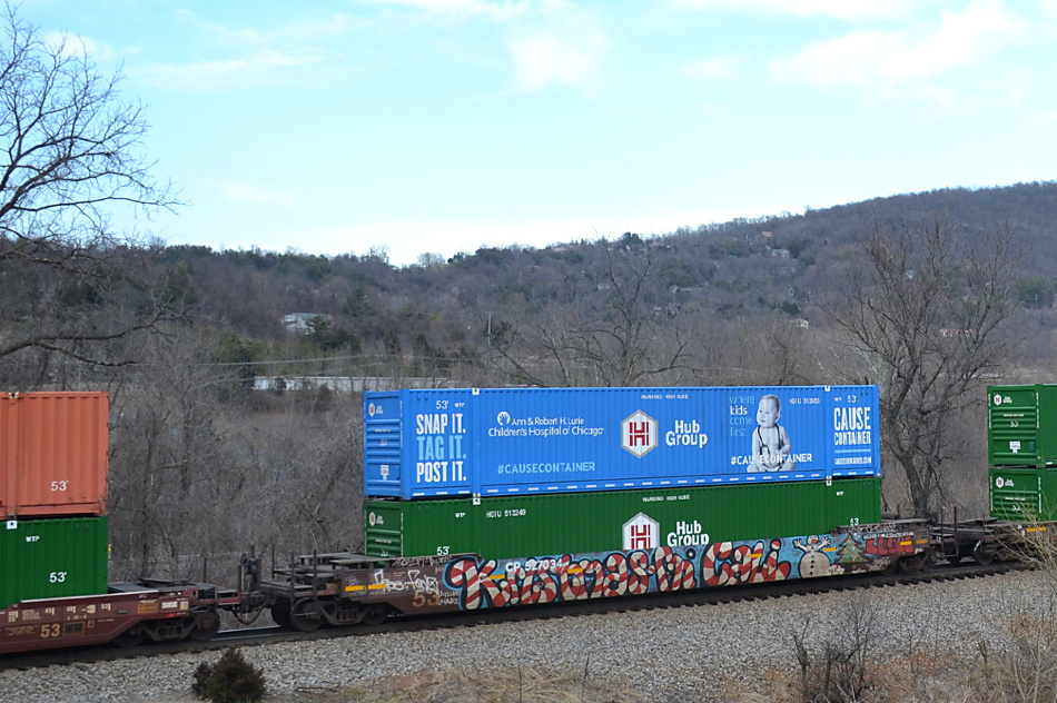 HUB Group Cause Container Benefiting the Children's Hospital of Chicago on NS train 203 near Linden, Virginia on 3/14/2019
