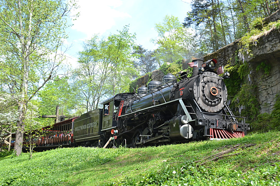 Dollywood 2-8-2 #70 leads a trip back to depot on 4/18/2019.