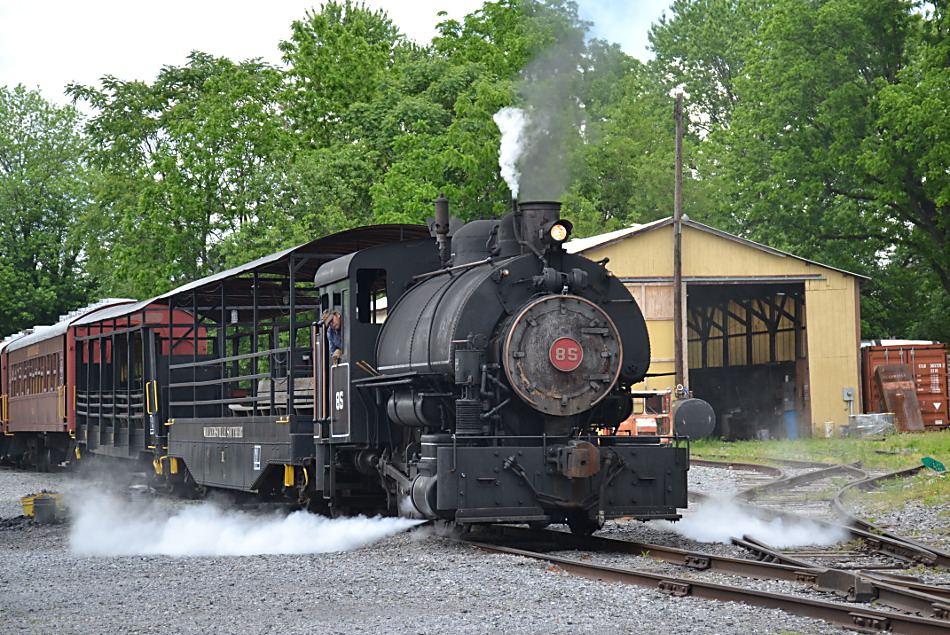 Jeddo Coal 0-4-0T #85 pulls the train up to the station prior to departure on 5/27/2019.