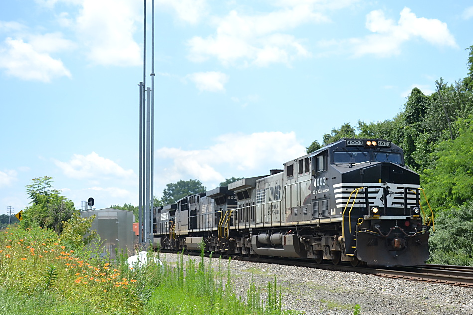 NS train 211 is led by AC44C6M #4003 as it heads into the siding at Woods in Front Royal, VA on 7/10/2019.