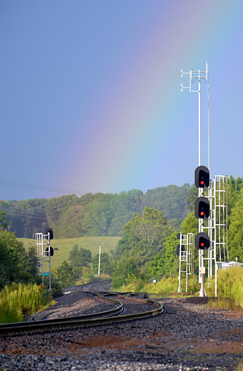 Rainbow as seen from the Norfolk Southern B-line at Woods in Front Royal, Va on 8/20/2019