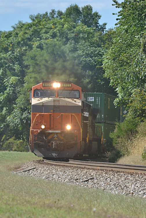 NS train 211 is led by NS ES-44AC #8105 (Interstate RR heritage unit) heading east on the NS B-line in Front Royal, VA on 9/18/2019.