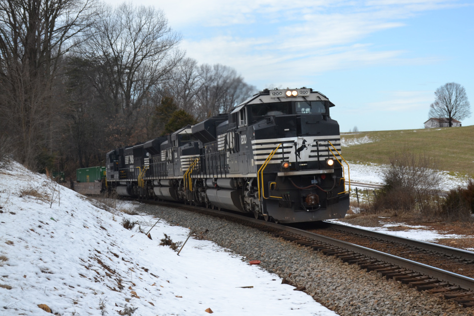 NS train 211 is led by SD70ACe #1200 heading east in Front Royal, Virginia on January 10, 2020.