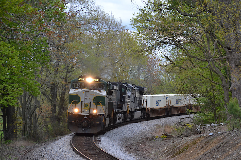 NS train 214 is led by ES44AC #8099 (the Southern Railway heritage unit) west across Rectortown Road in Marshall, Virginia on 4/25/2020.