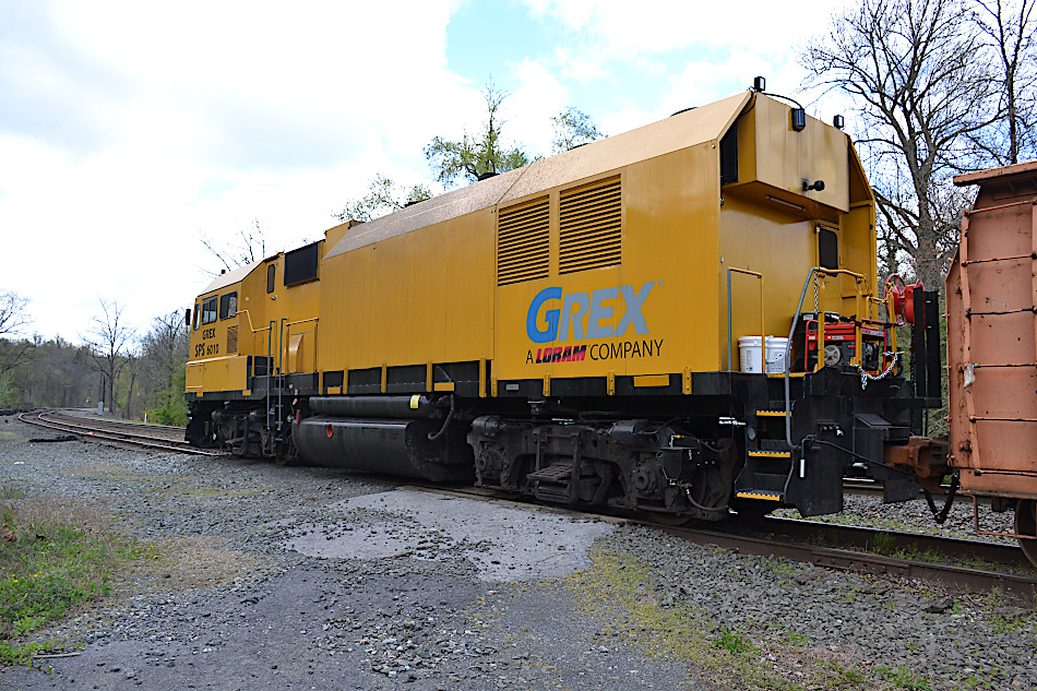 Loram GREX #6010 on the siding at Linden, Virginia on 4/10/2020.