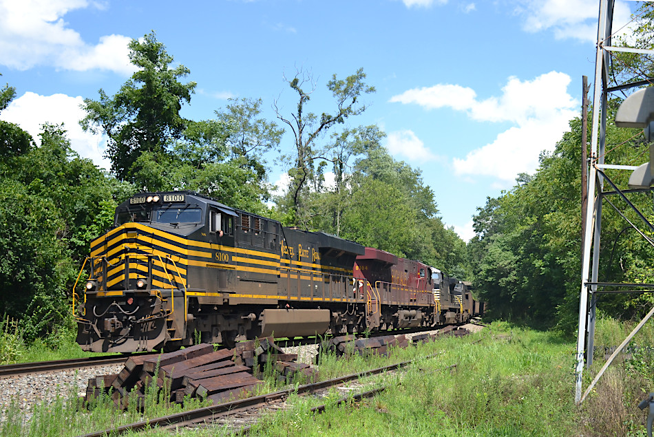 NS train 777 with NS ES44ACs #8100 (Nickel Plate Road heritage unit) and #8104 (Lehigh Valley Railroad heritage unit) crests Linden Hill on 8/3/2020.