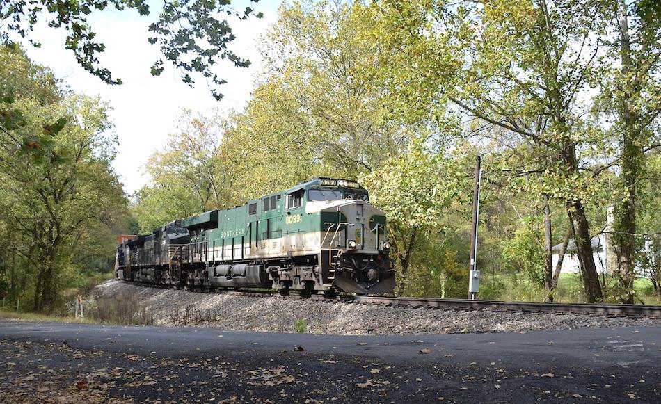NS ES-44AC #8099 (Southern Railway heritage) leads train 211 east past Markham, VA on 10/16/2020.