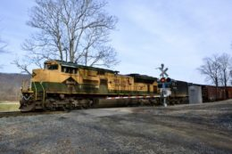 NS train 12R is led west at Belle Meade, VA by NS SD70ACe #1067 (the Reading Company Heritage unit) on 12/15/2020.