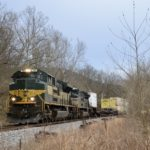 NS SD70ACe #1068 leads train 202 north near Front Royal, Virginia on the former Norfolk and Western Shenandoah Valley Line on February 6, 2021