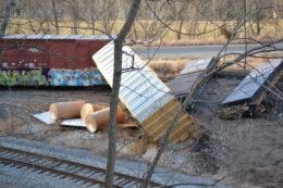 Closeup: NS train M6T derailed at Riverton Junction, Virginia on 3/4/2021.