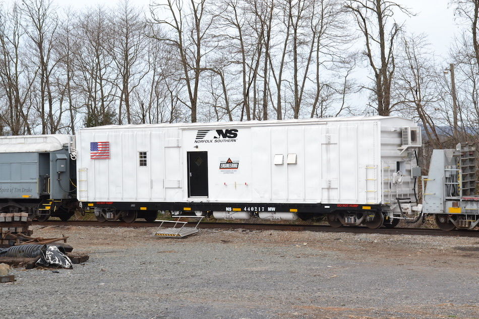 Norfolk Southern engineering department car in Front Royal, Virginia on 3/25/2021.