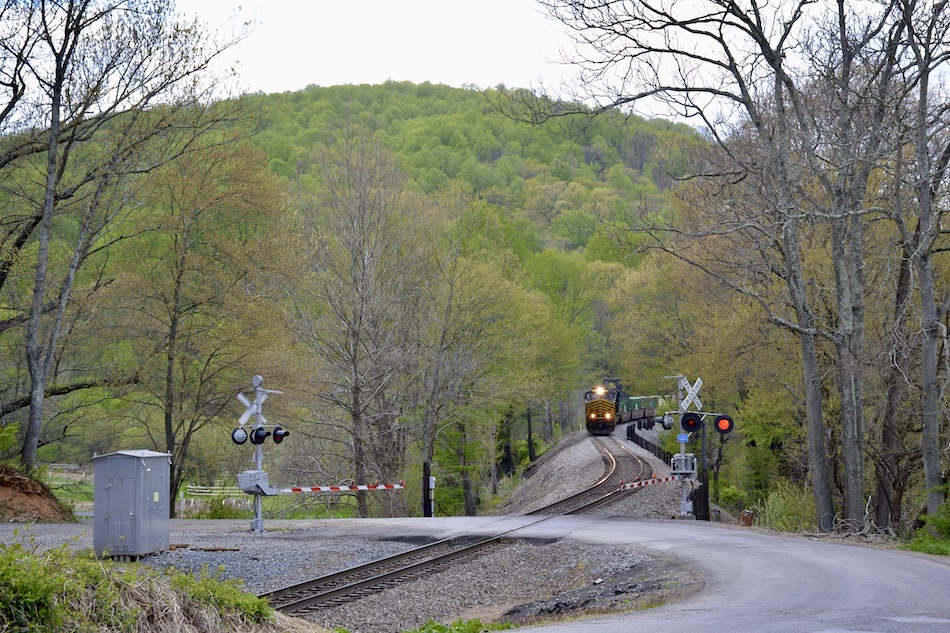 NS train 211 led by the Nickel Plate Road heritage unit passes through Belle Meade, Virginia on 4/22/2021.