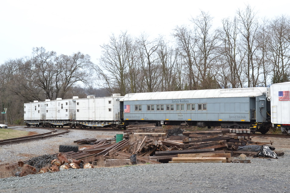 Norfolk Southern dining and camp cars in Front Royal, Virginia on 3/25/2021.