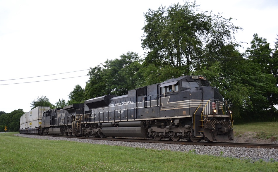 NS SD70ACe #1066, the New York Central RR heritage unit, led NS train 203 east on the B-Line through Front Royal, VA on 6/3/2021.
